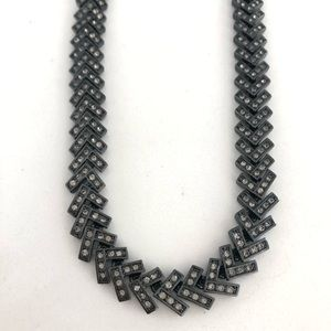 Ann Taylor Gunmetal Rhinestone Chevron Necklace